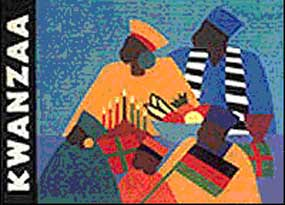Kwanzaa Commemorative Stamp with 2 African people in colorful robes