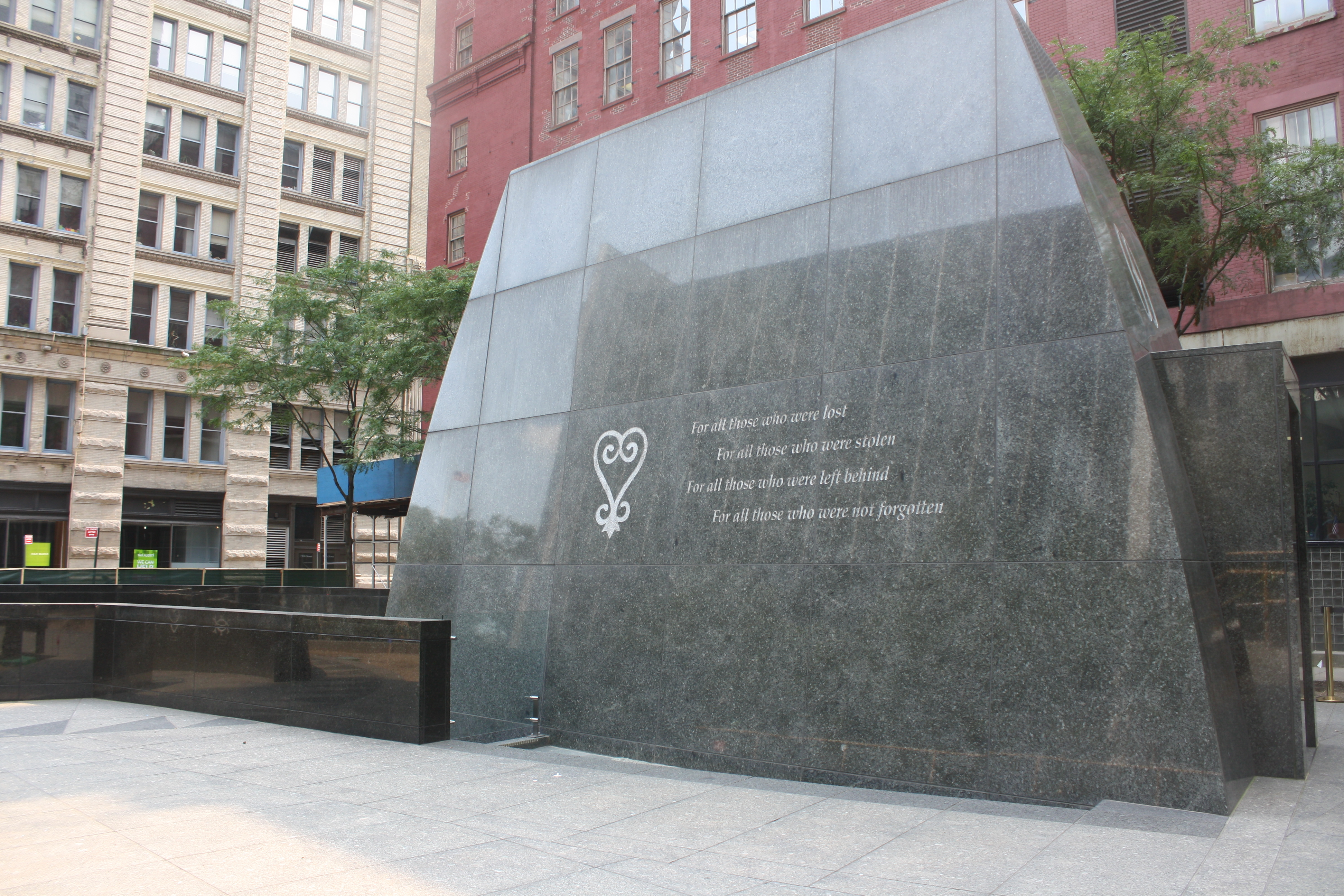 African Burial Ground National Monument outside memorial, designed by Rodney Leon.