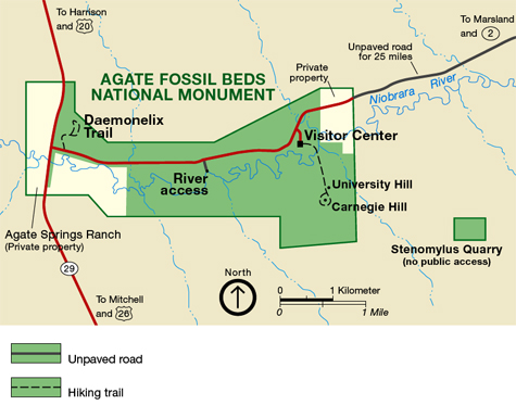 Map of Agate Fossil Beds National Monument