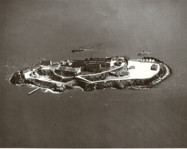 Aerial Photo of the new military prison on Alcatraz
