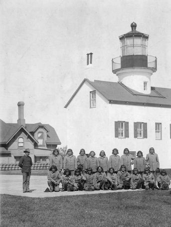 Hopi inmates by Alcatraz lighthouse