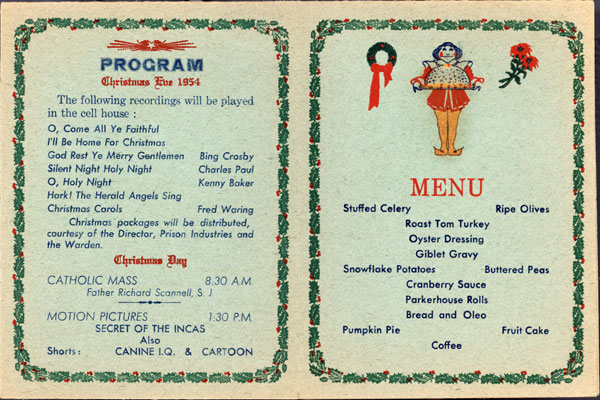 Cellhouse menu for Christmas 1954.