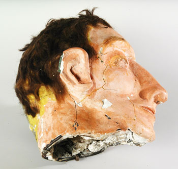 primitive wax head of a man