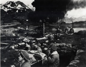 Marines in trenches during Dutch Harbor attack, June 4, 1942