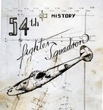 hand-drawn cover of 54th fighter squadron history with aircraft