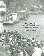 cover of Mobley's book, showing small boat packed with Aleut evacuees