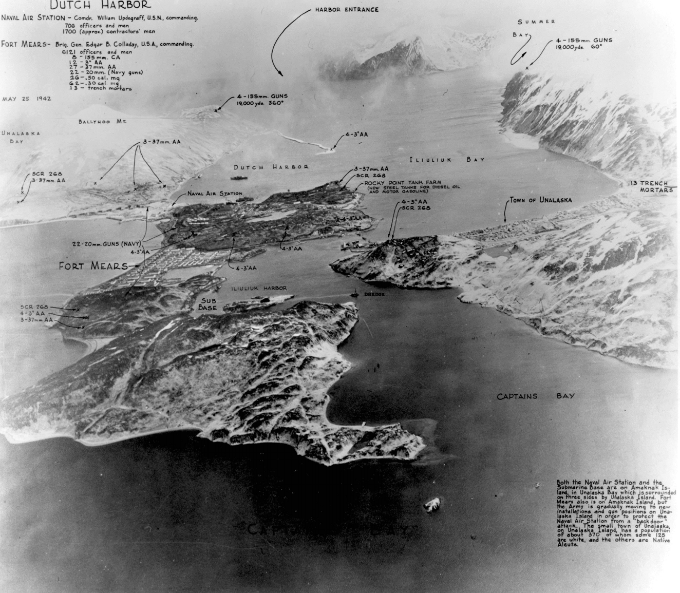 black and white aerial photo of islands and water with handwritten annotations