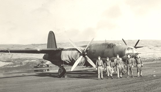 A B-26 bomber and crew in Adak