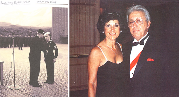 Photo of Joseph Baldeschi receiving purple heart beside recent photo of himself with his wife