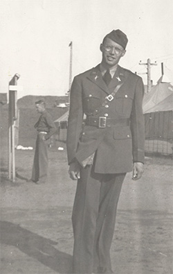 WWII-era photo of Theodore Bouchette in uniform at Camp Clatsop