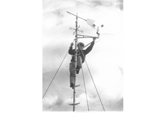 A weatherman on an antenna