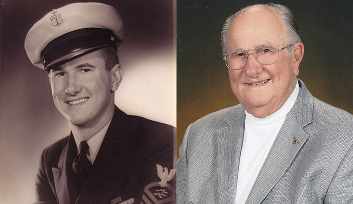 composite image of Al Gentle from the 1940s, in uniform, and in more recent years