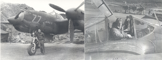 "Two photos of Lt. John Geddes and his Lockheed P-38 Lightning, the ""Lorna D."""