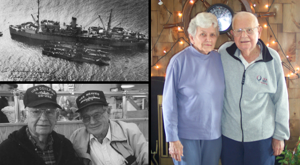 Images of Vic, family, friend, and USS Beaver