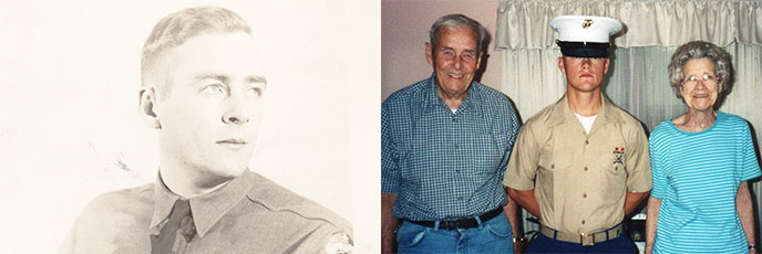 Composite image of 1940s era of Mel Mickelson and Mel, his wife, and uniformed grandson in 2007