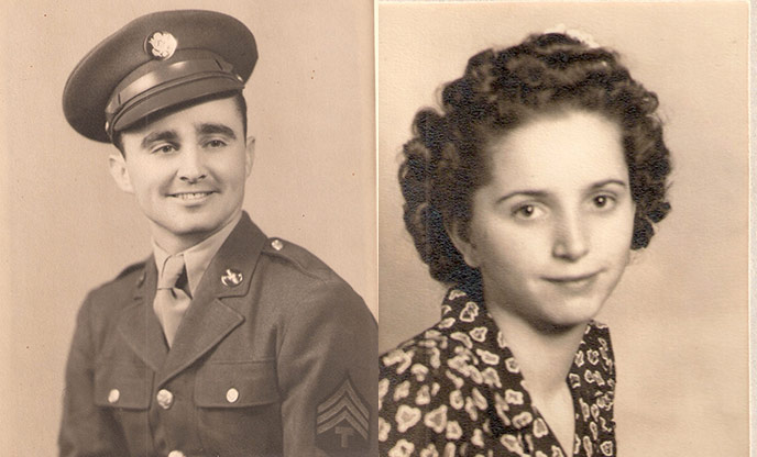 composite of WWII-era photos of uniformed Robert Johnson and Shirley Johnson
