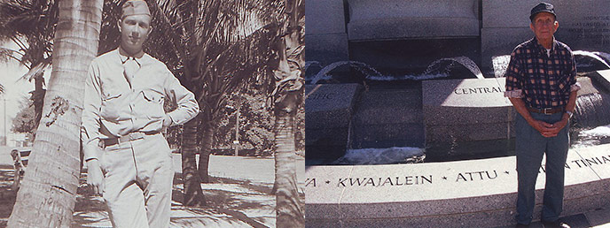 composite photo - historic photo of Edward Novak next to a palm tree, in uniform; and modern photo of Edward next to a monument bearing the names of campaigns, including Attu