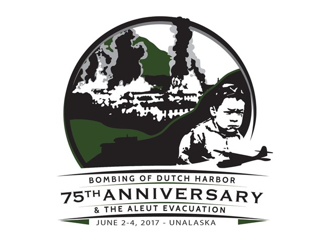 "Logo with buildings on fire and unhappy child and text ""75th Anniversary"" and ""June 2-4, 2017"""