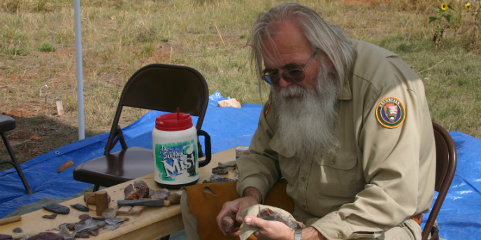 A demonstration of flintknapping.