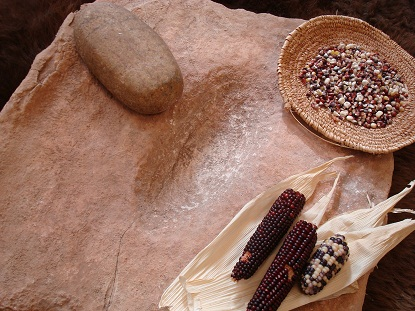 The metate and mano were used to grind corn.