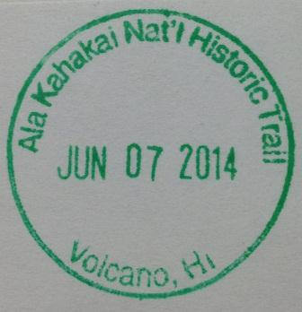 Ala Kahakai stamp for Hawaii Volcanoes National Park