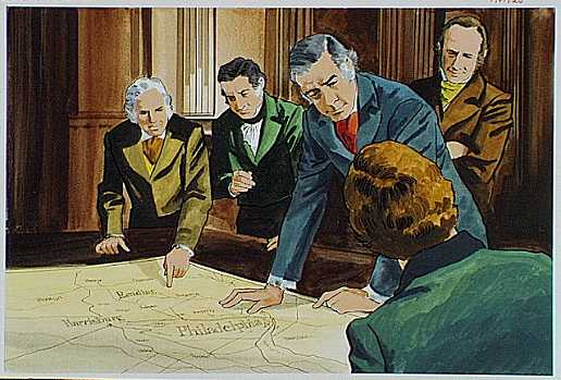 Artist depiction of politicians discussing canal routes for Pennsylvania