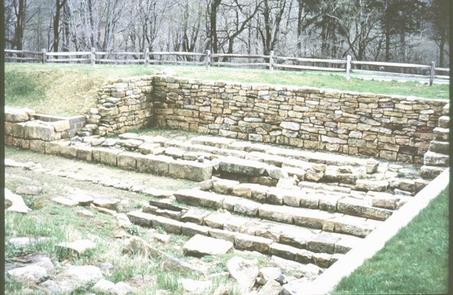 The uncovered Engine House 6 foundations before shelter was built