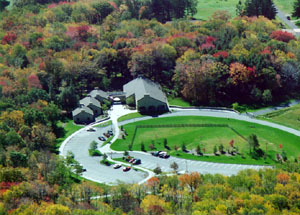 Ariel view of parking lot and visitor center