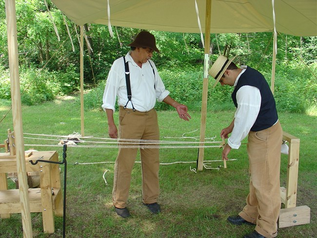 Costumed rangers ropemaking