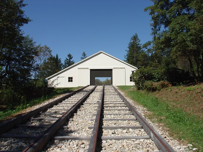 Engine House Six Exhibit Shelter sits at the top of the incline reproduction track