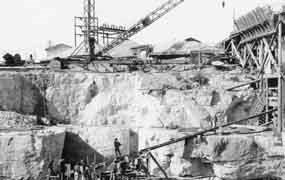 Construction of Lake Walk Dam.