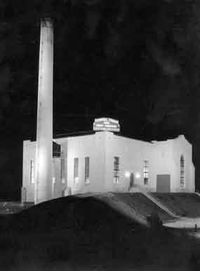 Steam Plant at night.