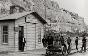 Historic image of Painted Cave Station.