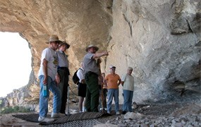 NPS Archeologist Joe Labadie leads a tour group through Seminole Canyon.