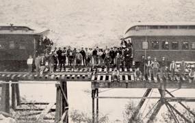 A picture of the Silver Spike Ceremony in 1886.