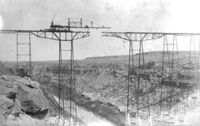 Pecos Viaduct in it's final phases of construction.