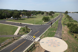 Aerial View of road intersection by Anacostia River.