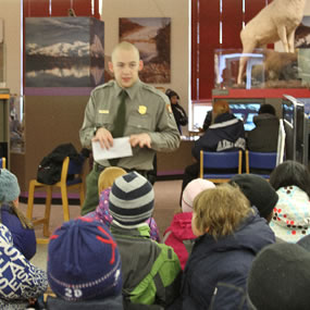 Ranger Cameron talking with kids.