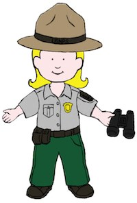 A colored drawing of a park ranger,  she is holding binoculars.