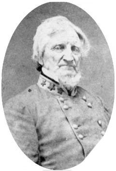 Historic photograph of an older, bearded man in a Confederate Officer's uniform.