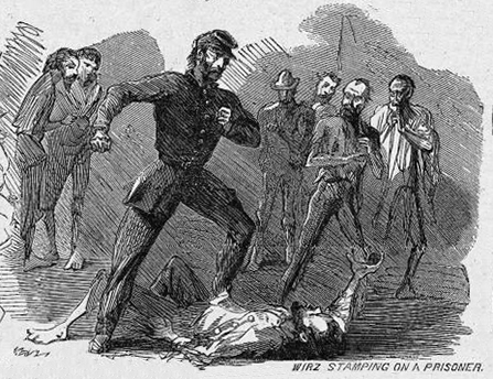 Confederate officer stamping an imprisoned U.S. soldier to death.