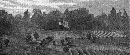 Historic newspaper illustration showing Clara Barton raising the American Flag over the National Cemetery.