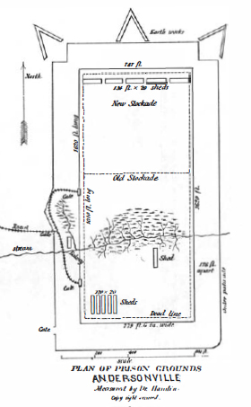Historic drawing of prison complex showing walls, earthworks, and other features
