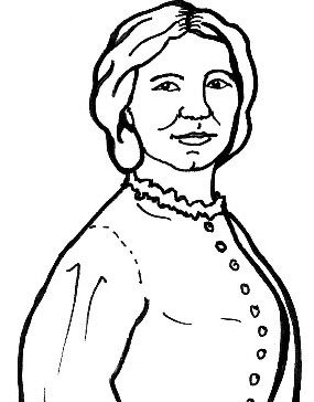 Line drawing of Clara Barton
