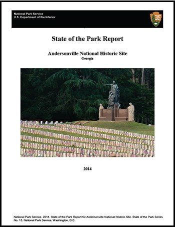 Cover of the State of the Park report featuring a photograph of a monument with graves before it.