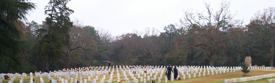Holiday wreaths among the graves of Section Q