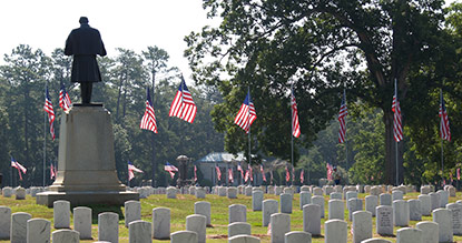 Cemetery decorated with flags for Memorial Day
