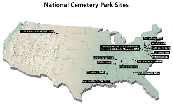 Map of the United States showing National Cemeteries