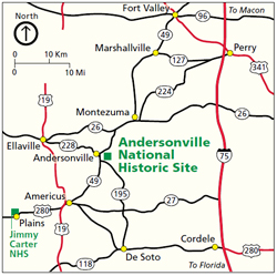 Area map showing roads and communities in the vicinity of Andersonville National Historic Site