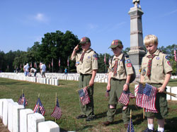 Boy Scouts saluting flags in the national cemetery